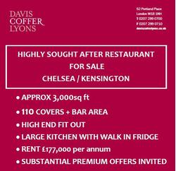 Highly Sought After Restaurant For Sale, Chelsea / Kensington, London, SW3 3DX