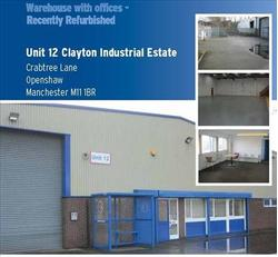 TO LET/MAY SELL WAREHOUSE WITH OFFICES - RECENTLY REFURBISHED. Unit 12, Clayton Industrial Estate, Crabtree Lane, Manchester